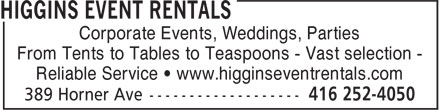 Ads Higgins Event Rentals