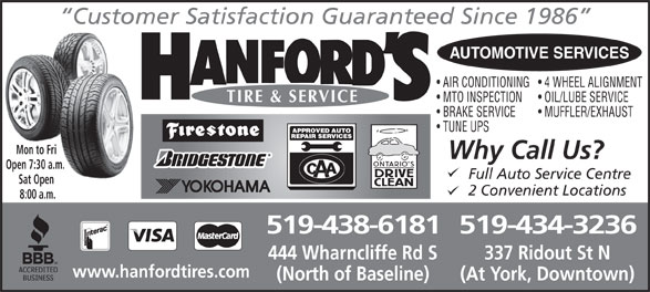 Ads Hanford's Tire & Automotive