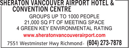 Ads Sheraton Vancouver Airport Hotel & Convention Centre