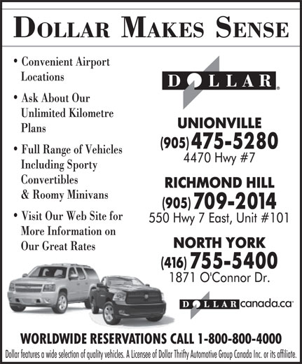 Ads Dollar Rent A Car - Victoria Park &amp; Eglinton