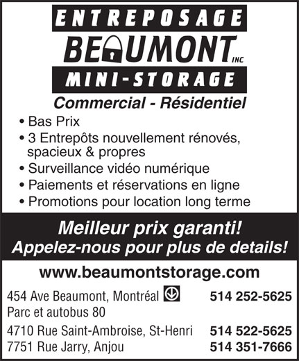 Ads Entreposage Beaumont Mini-Storage Montréal