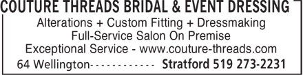 Ads Couture Threads Bridal & Event Dressing