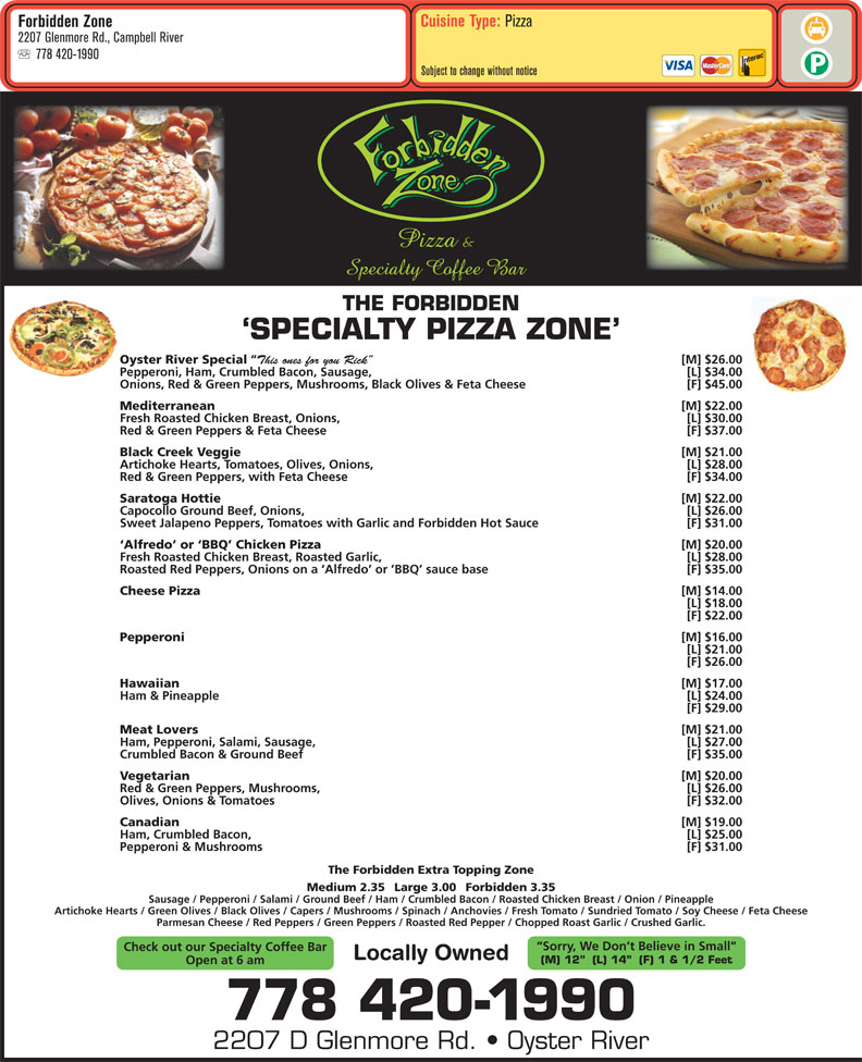 menu Forbidden Zone Pizza & Specialty Coffee Bar