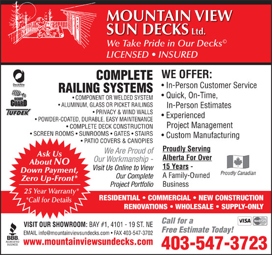 Ads Mountain View Sun Decks Ltd