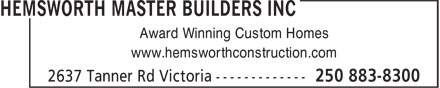 Ads Hemsworth Master Builders Inc.