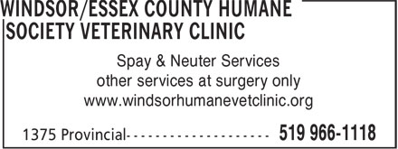 Ads Windsor/Essex County Humane Society