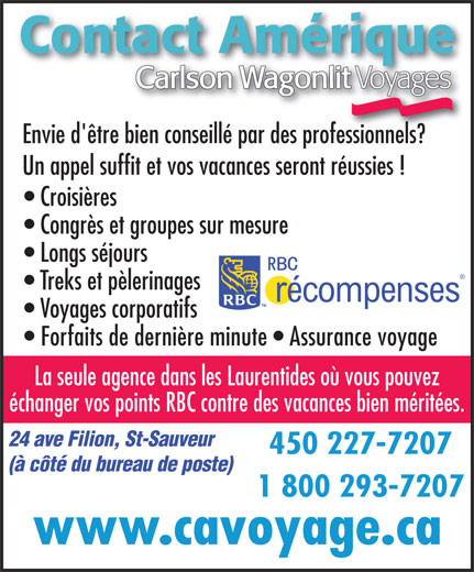 Ads Contact Amrique Voyage Carlson Wagonlit