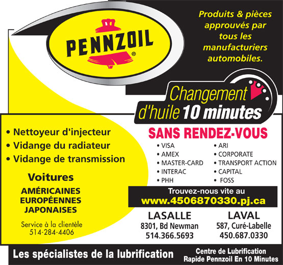 Ads Centre De Lubrification Pennzoil