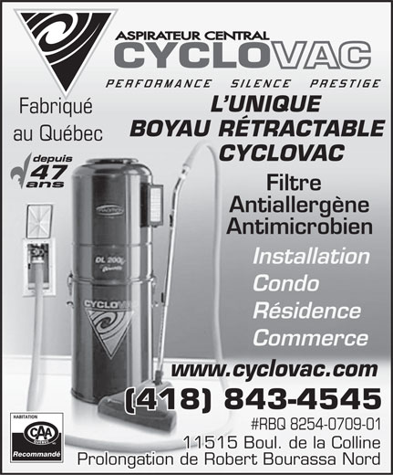Ads Aspirateur Central Cyclo-Vac