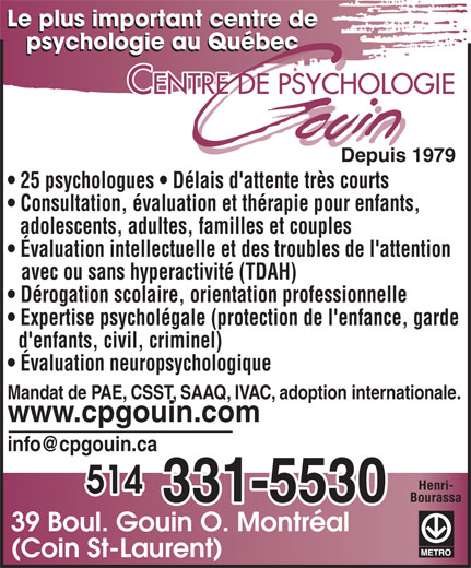 Ads Centre de Psychologie Gouin Inc