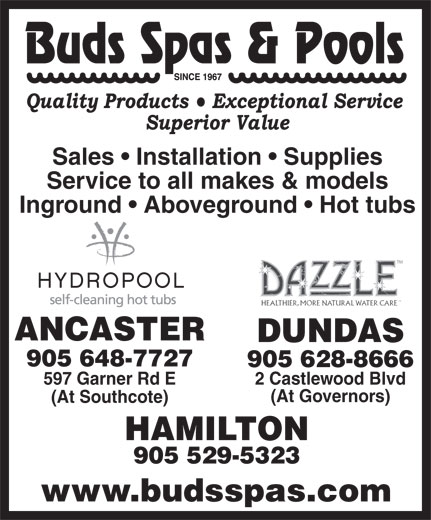 Ads Bud's Spas & Pools