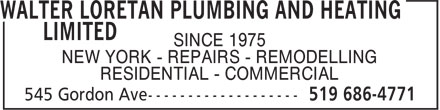 Ads Walter Loretan Plumbing & Heating Limited