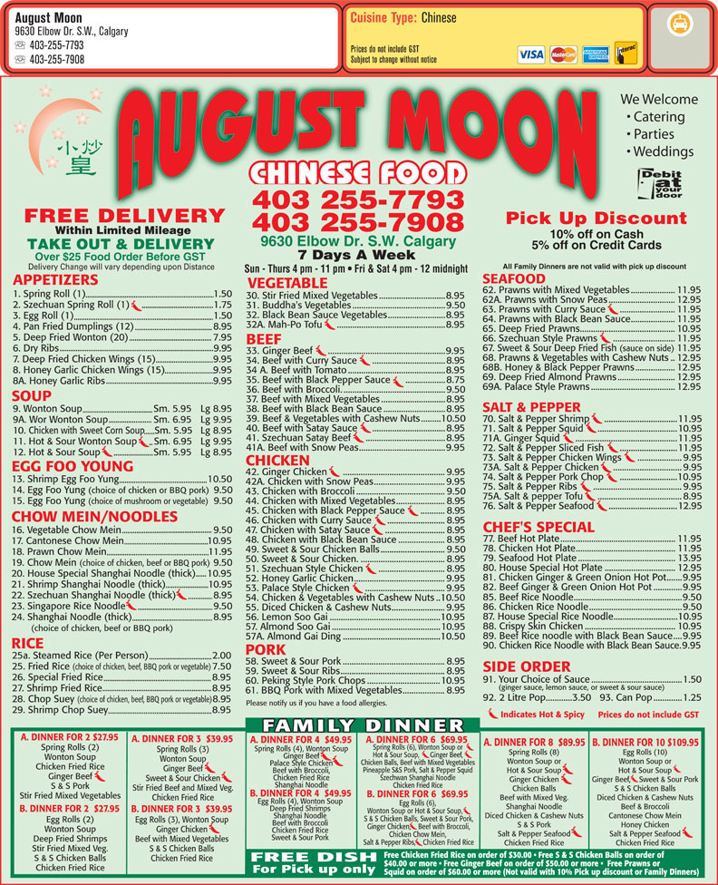 menu August Moon