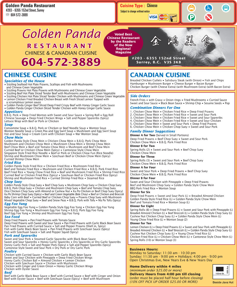 menu Golden Panda Restaurant Ltd