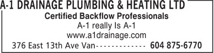 Ads A-1 Drainage Plumbing & Heating Ltd
