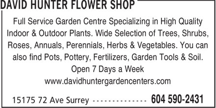 Ads David Hunter Flower Shop