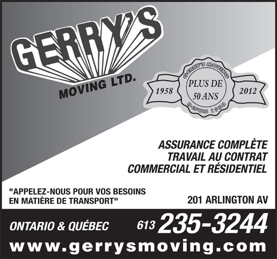Ads Gerry's Moving Ltd