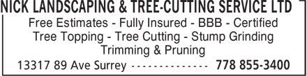 Ads Nick Landscaping & Tree-Cutting Service Ltd