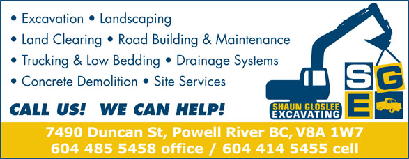 Ads Shaun Gloslee Excavating & Landscaping