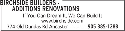 Ads Birchside Builders - Additions Renovations