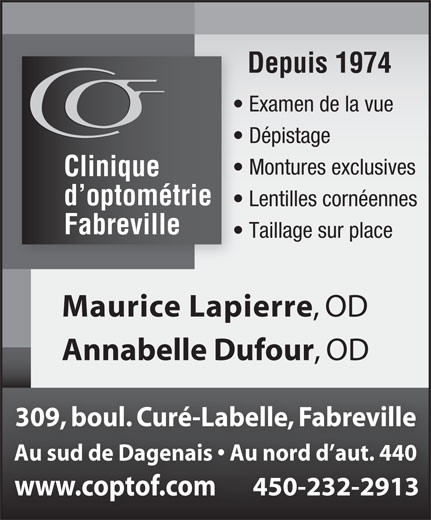 Ads Clinique D&#039;Optomtrie Fabreville