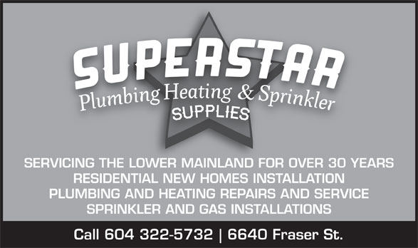Ads Superstar Plumbing Heating & Sprinkler Supplies Ltd