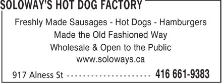 Ads Soloway&#039;s Hot Dog Factory