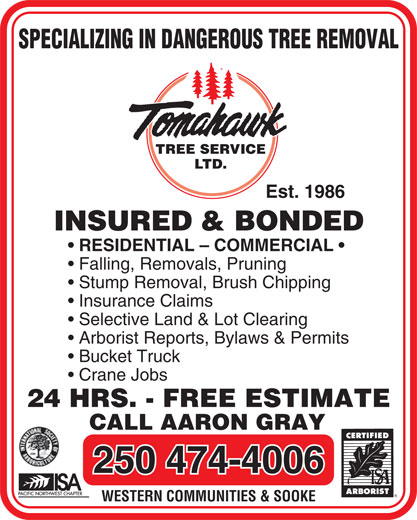 Ads Tomahawk Tree Service (2001) Ltd
