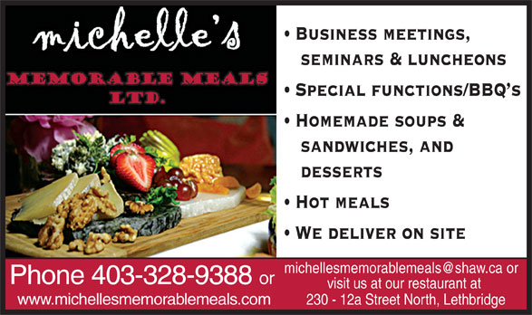 Ads Michelle's Memorable Meals