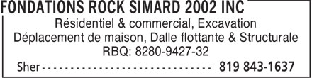 Ads Fondations Rock Simard 2002 Inc