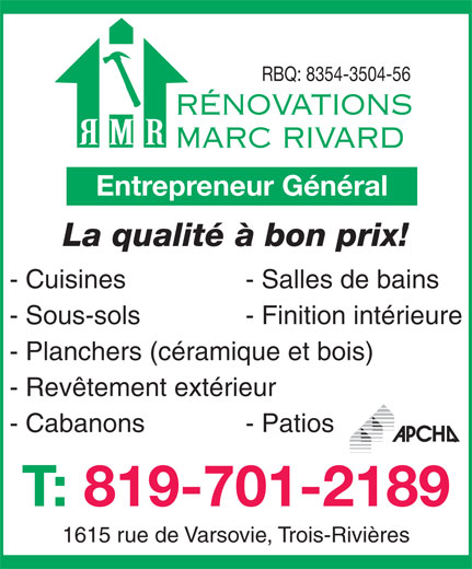 Ads Rénovation Marc Rivard