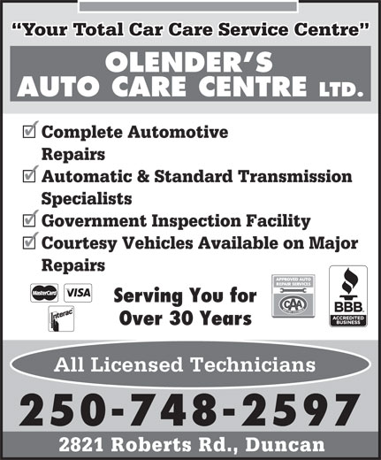 Ads Olender's Auto Care Centre Ltd