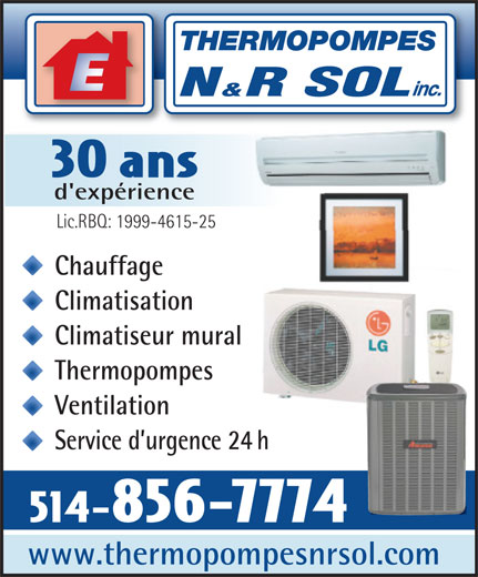 Ads Thermopompes N&R Sol Inc