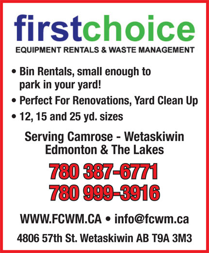 Ads First Choice Waste Management and Rentals