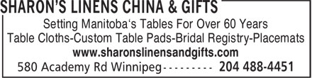 Ads Sharon's Linens China & Gifts