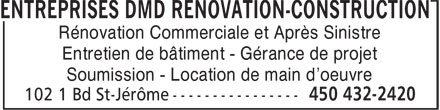 Ads Entreprises DMD Rénovation-Construction
