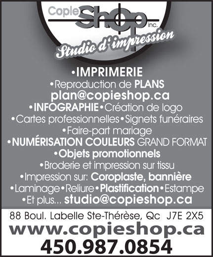 Ads Copie Shop Photocopie Inc