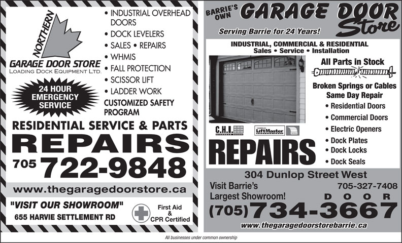 Barrie 39 s own garage door store barrie on 304 dunlop for Garage ad st coulomb