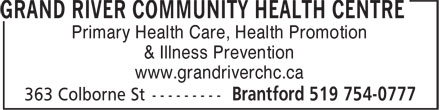 Ads Grand River Community Health Centre
