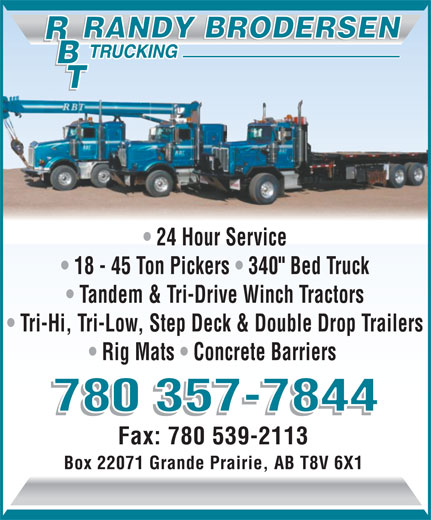 Rbt randy brodersen trucking grande prairie ab 9503 for 24 hour tanning salon near me