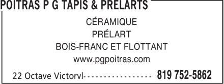 poitras p g tapis amp prelarts victoriaville qc 22 rue
